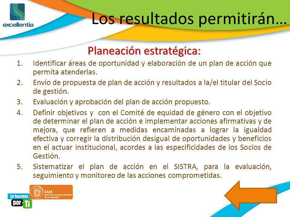 Los resultados permitirán… Planeación estratégica: 1.Identificar áreas de oportunidad y elaboración de un plan de acción que permita atenderlas. 2.Env