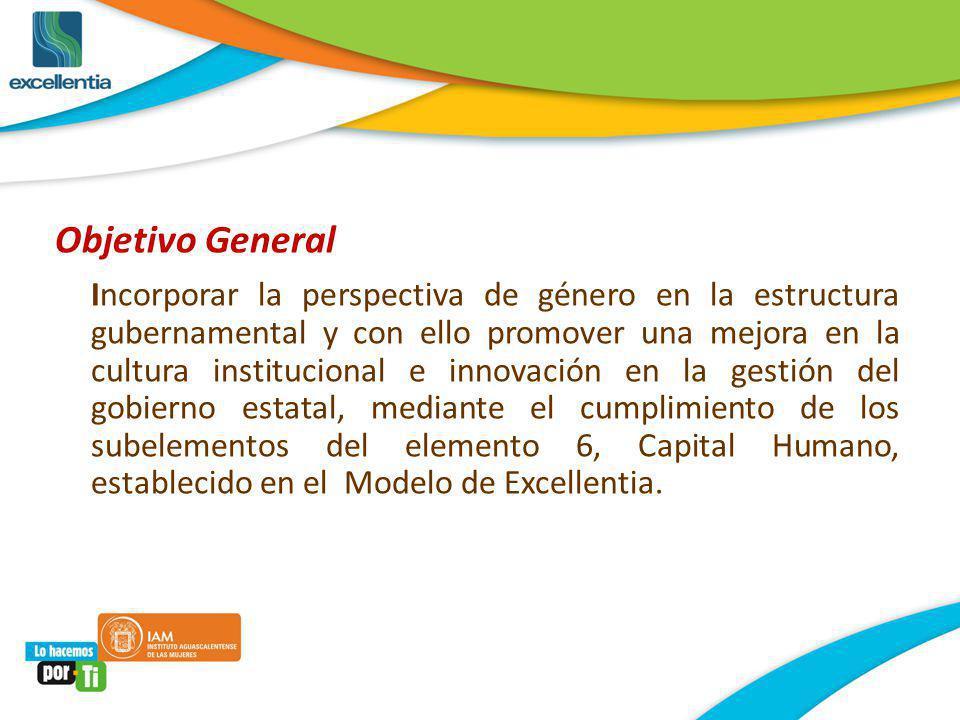 Objetivo General Incorporar la perspectiva de género en la estructura gubernamental y con ello promover una mejora en la cultura institucional e innov