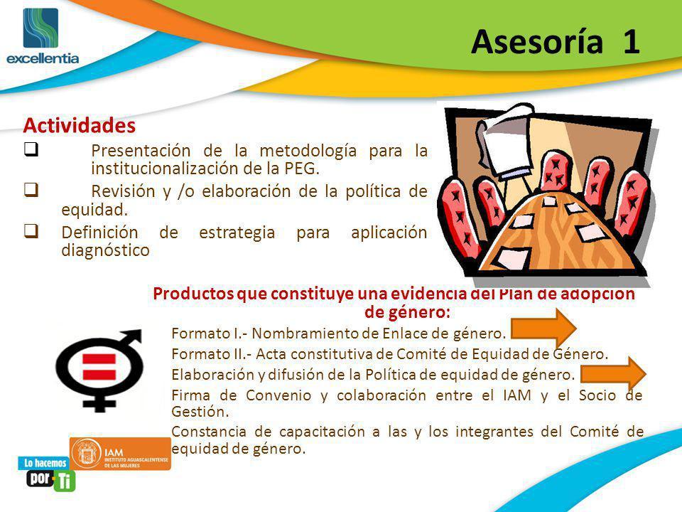 Asesoría 1 Actividades Presentación de la metodología para la institucionalización de la PEG. Revisión y /o elaboración de la política de equidad. Def