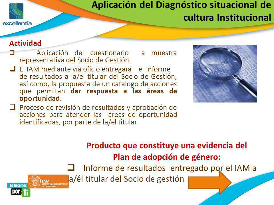 Aplicación del Diagnóstico situacional de cultura Institucional Actividad Aplicación del cuestionario a muestra representativa del Socio de Gestión. E