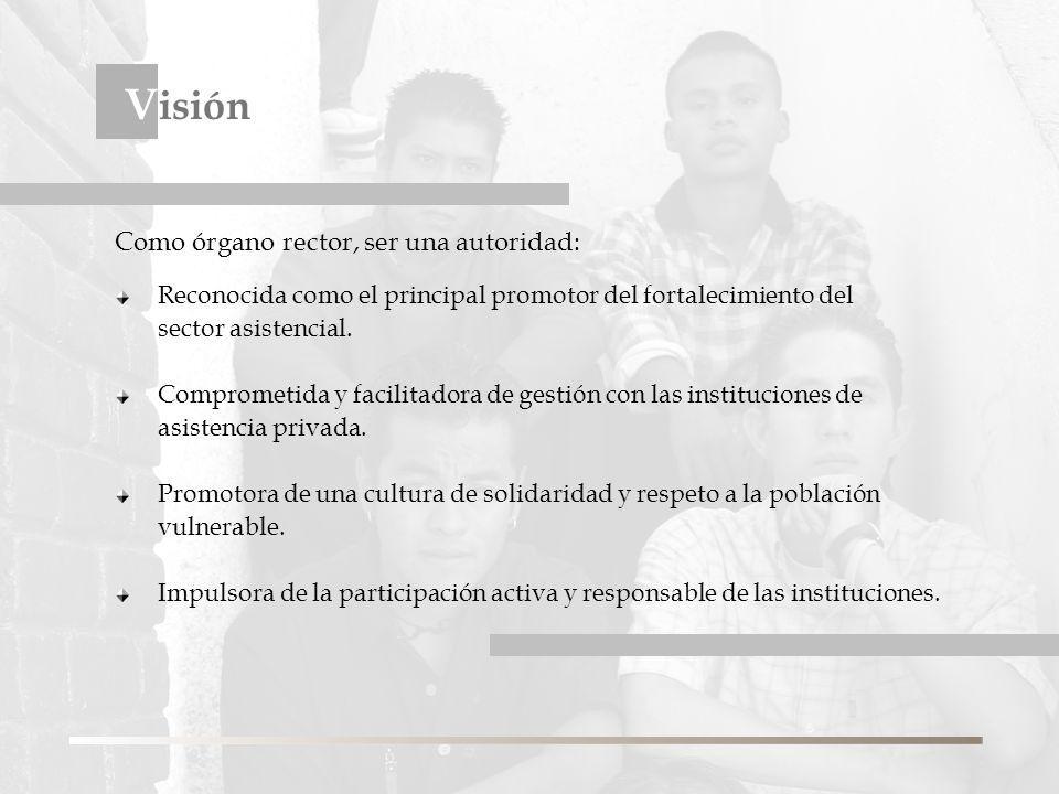V isión Reconocida como el principal promotor del fortalecimiento del sector asistencial.