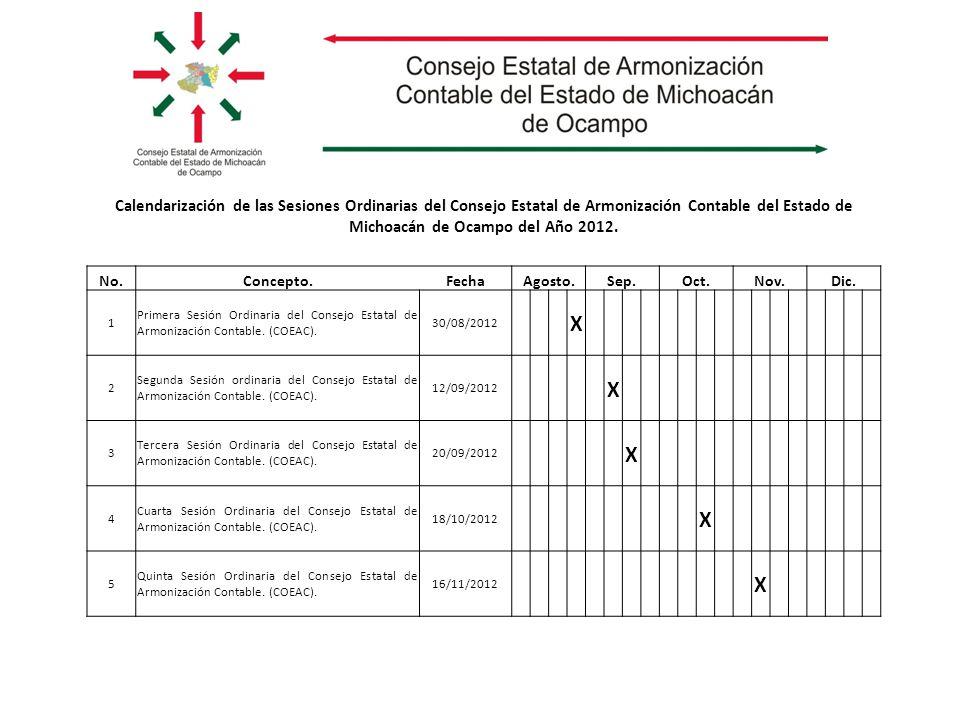Calendarización de las Sesiones Ordinarias del Consejo Estatal de Armonización Contable del Estado de Michoacán de Ocampo del Año 2012.