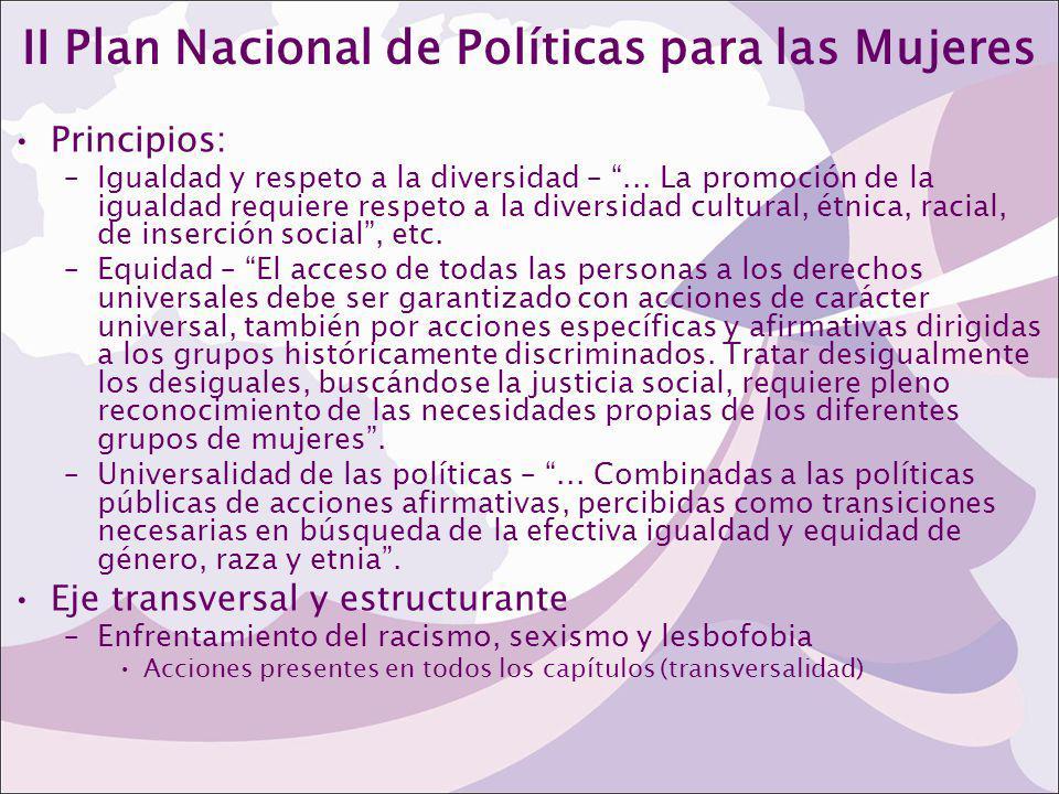 II Plan Nacional de Políticas para las Mujeres Principios: –Igualdad y respeto a la diversidad –... La promoción de la igualdad requiere respeto a la