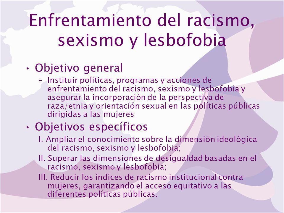 Enfrentamiento del racismo, sexismo y lesbofobia Objetivo general –Instituir políticas, programas y acciones de enfrentamiento del racismo, sexismo y