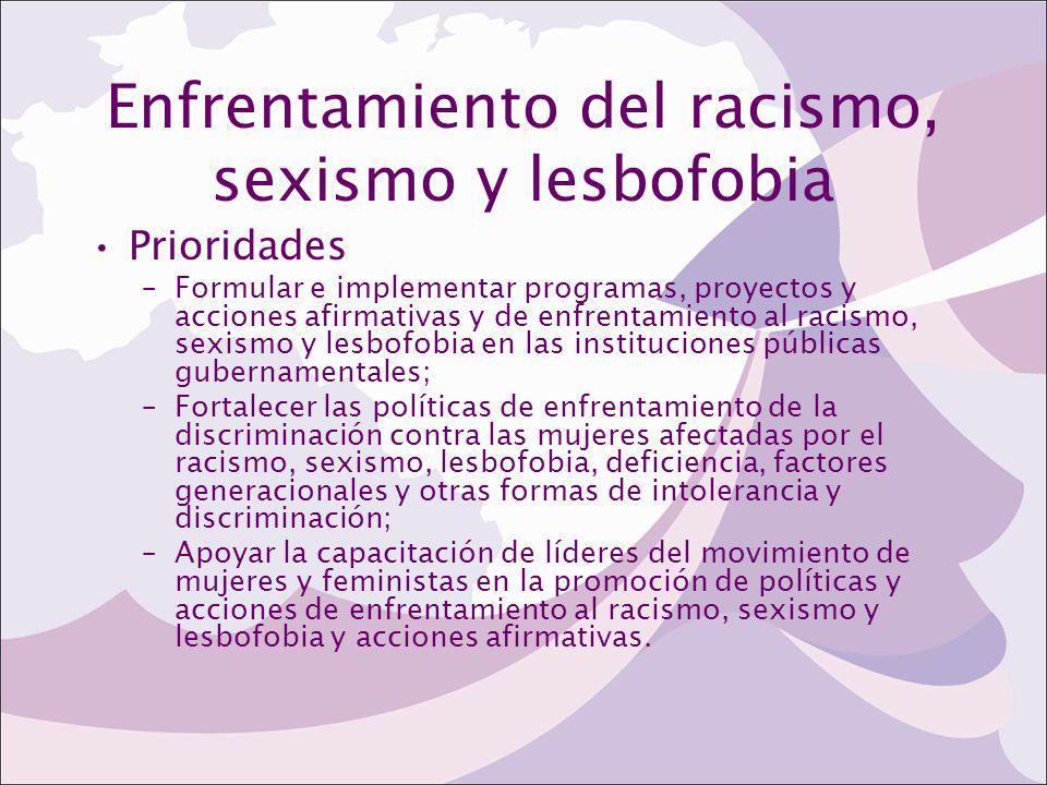 Enfrentamiento del racismo, sexismo y lesbofobia Prioridades –Formular e implementar programas, proyectos y acciones afirmativas y de enfrentamiento a