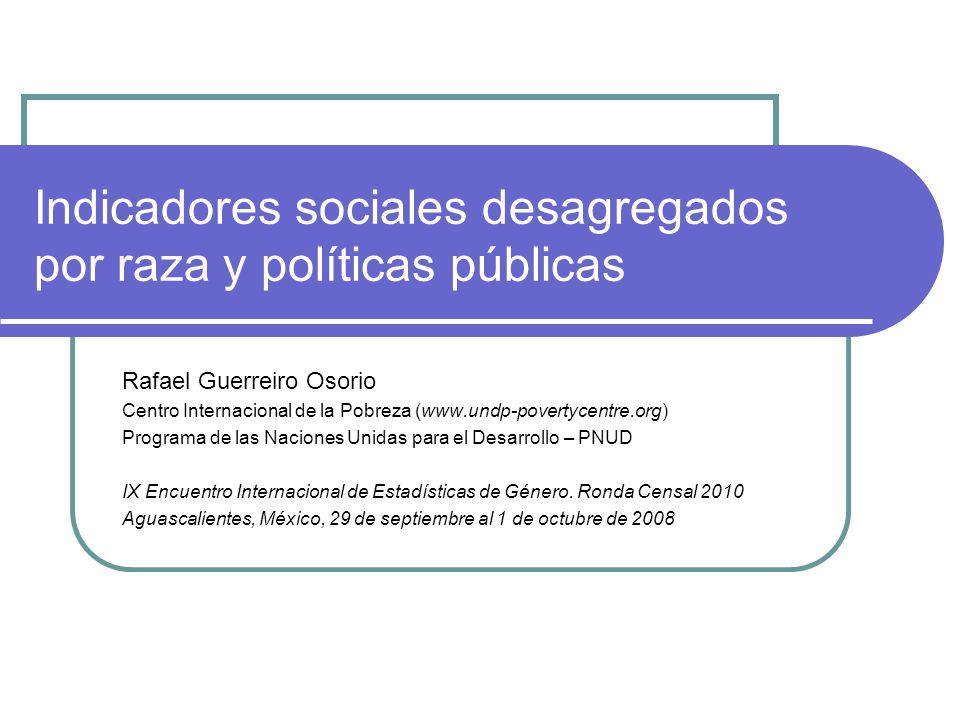 Indicadores sociales desagregados por raza y políticas públicas Rafael Guerreiro Osorio Centro Internacional de la Pobreza (www.undp-povertycentre.org