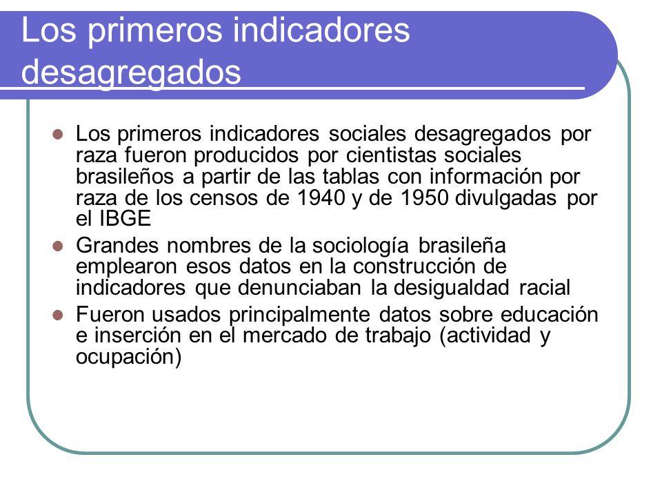 Los primeros indicadores desagregados Los primeros indicadores sociales desagregados por raza fueron producidos por cientistas sociales brasileños a p
