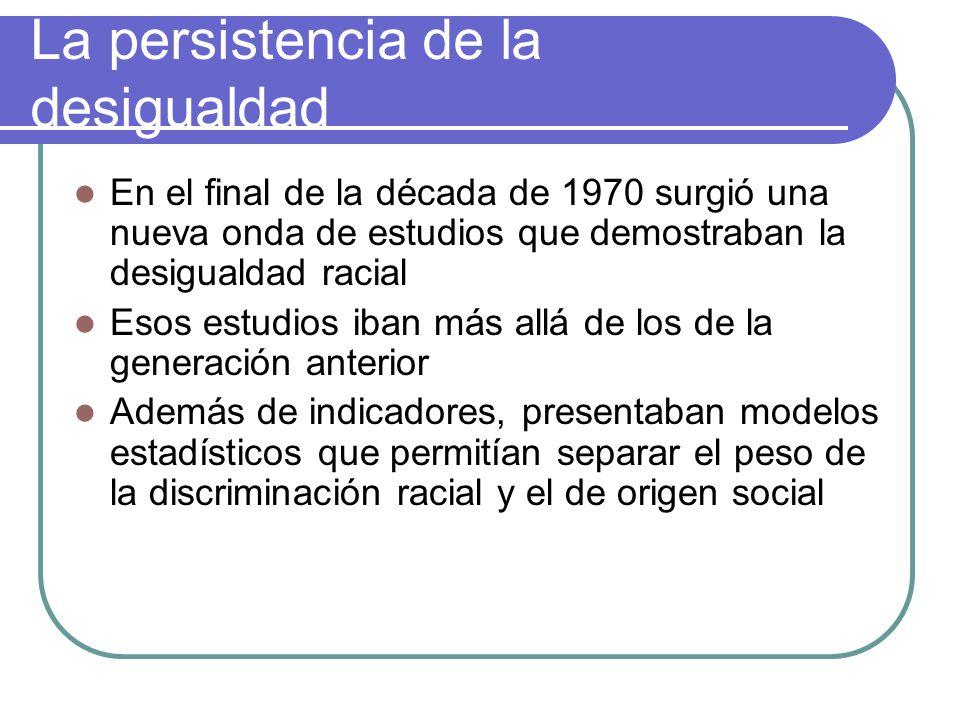 La persistencia de la desigualdad En el final de la década de 1970 surgió una nueva onda de estudios que demostraban la desigualdad racial Esos estudi