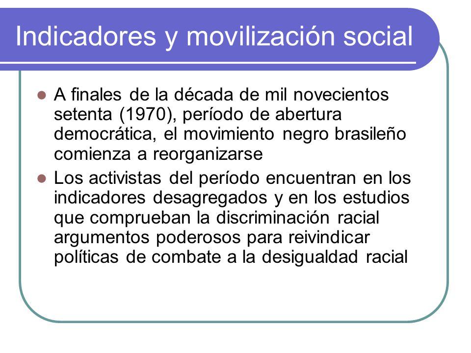 Indicadores y movilización social A finales de la década de mil novecientos setenta (1970), período de abertura democrática, el movimiento negro brasi