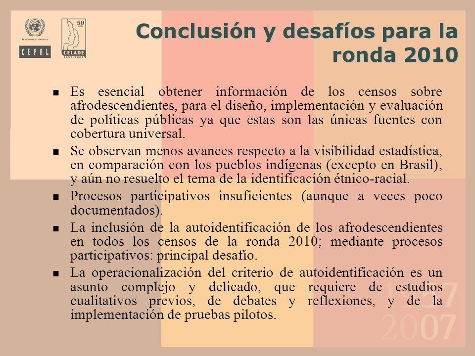 Conclusión y desafíos para la ronda 2010 Conclusión y desafíos para la ronda 2010 Es esencial obtener información de los censos sobre afrodescendiente