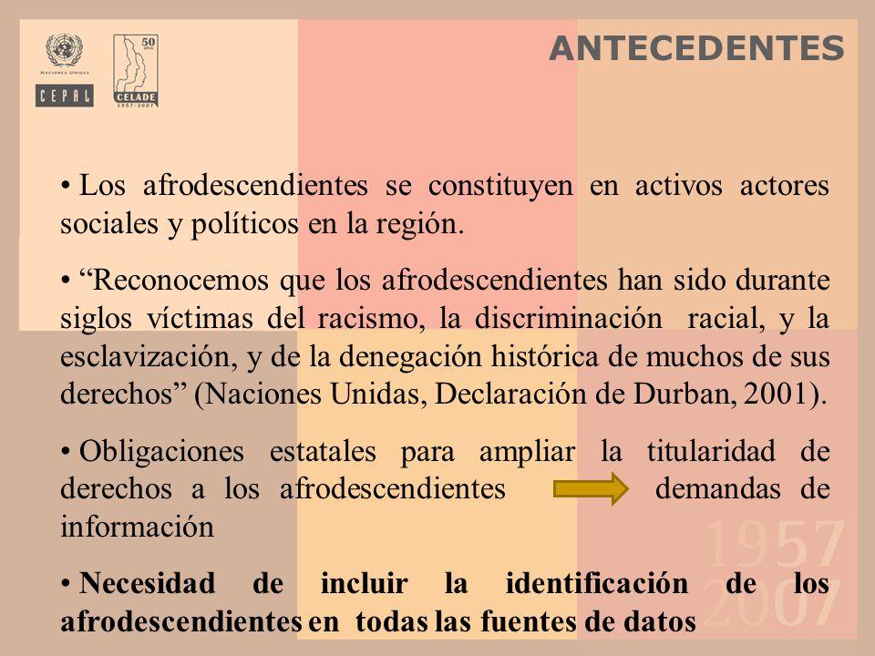 Los afrodescendientes se constituyen en activos actores sociales y políticos en la región. Reconocemos que los afrodescendientes han sido durante sigl