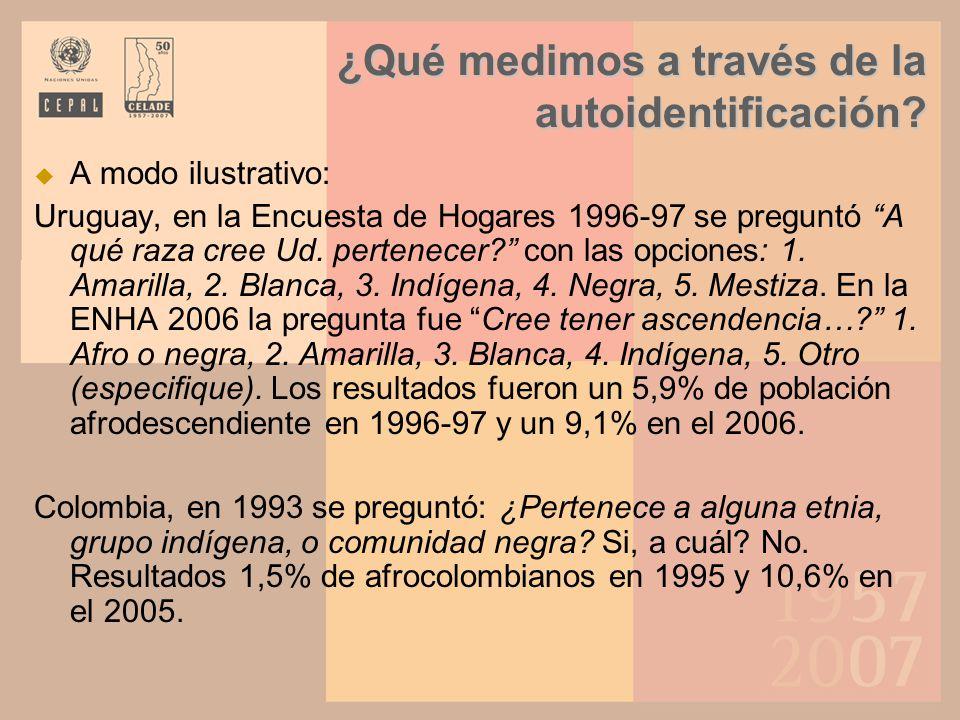 A modo ilustrativo: Uruguay, en la Encuesta de Hogares 1996-97 se preguntó A qué raza cree Ud. pertenecer? con las opciones: 1. Amarilla, 2. Blanca, 3