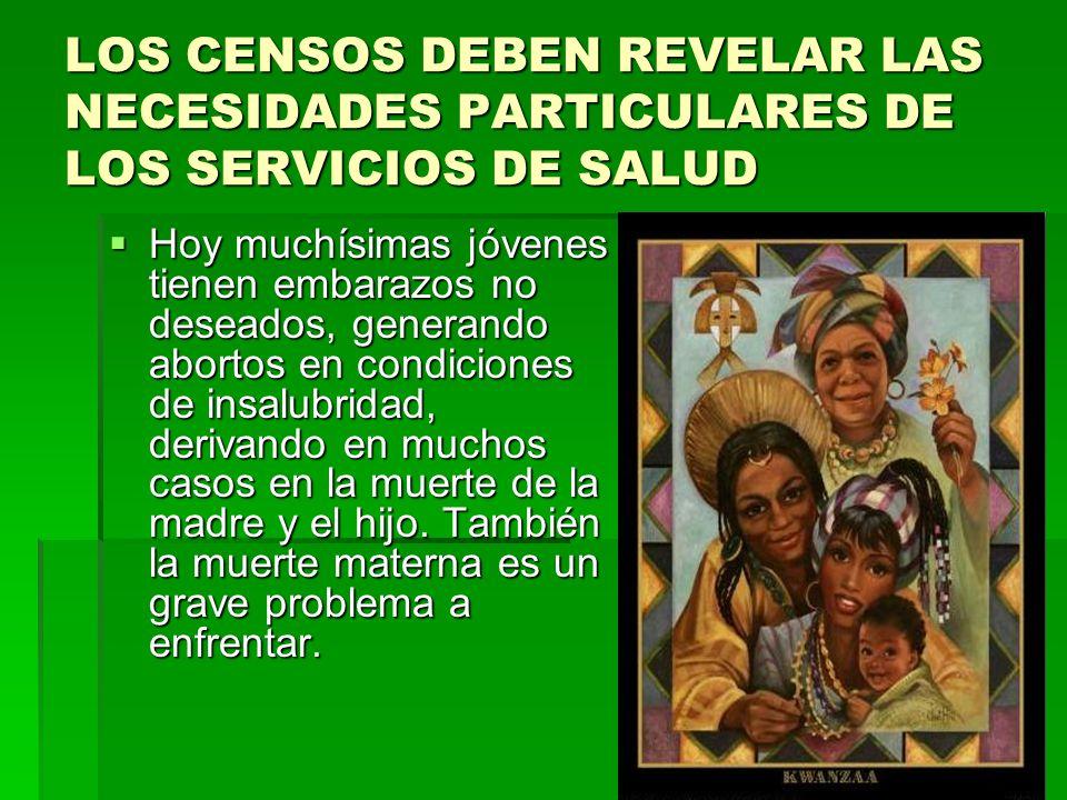 LOS CENSOS DEBEN REVELAR LAS NECESIDADES PARTICULARES DE LOS SERVICIOS DE SALUD Hoy muchísimas jóvenes tienen embarazos no deseados, generando abortos