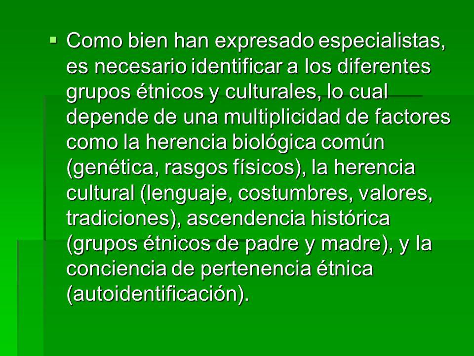 Como bien han expresado especialistas, es necesario identificar a los diferentes grupos étnicos y culturales, lo cual depende de una multiplicidad de