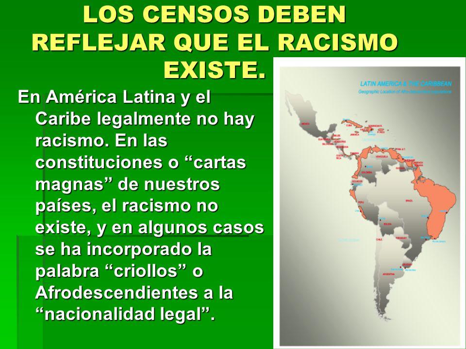 LOS CENSOS DEBEN REFLEJAR QUE EL RACISMO EXISTE. En América Latina y el Caribe legalmente no hay racismo. En las constituciones o cartas magnas de nue