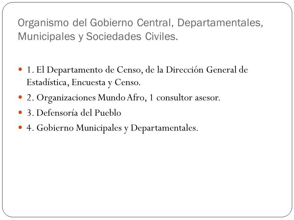 Organismo del Gobierno Central, Departamentales, Municipales y Sociedades Civiles. 1. El Departamento de Censo, de la Dirección General de Estadística