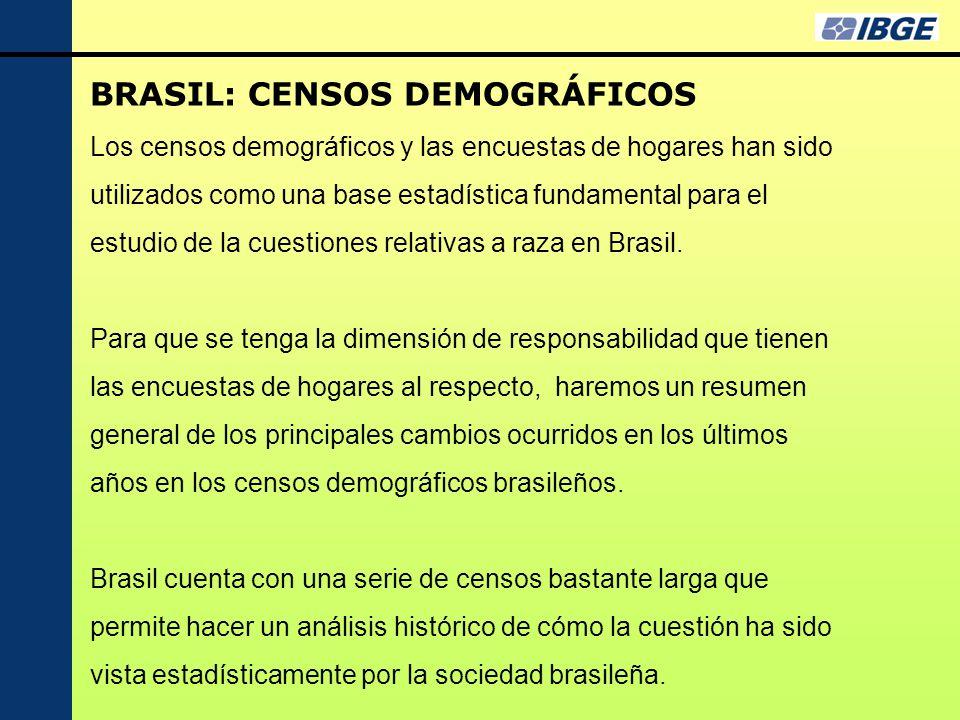 BRASIL: CENSOS DEMOGRÁFICOS Los censos demográficos y las encuestas de hogares han sido utilizados como una base estadística fundamental para el estudio de la cuestiones relativas a raza en Brasil.