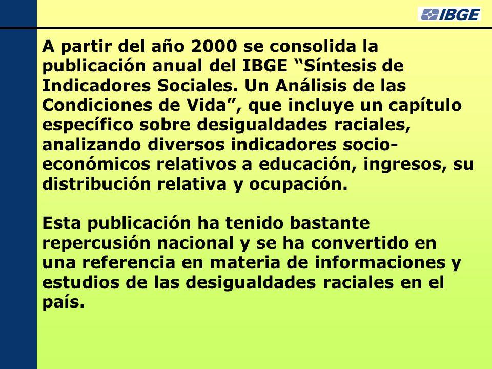 A partir del año 2000 se consolida la publicación anual del IBGE Síntesis de Indicadores Sociales.
