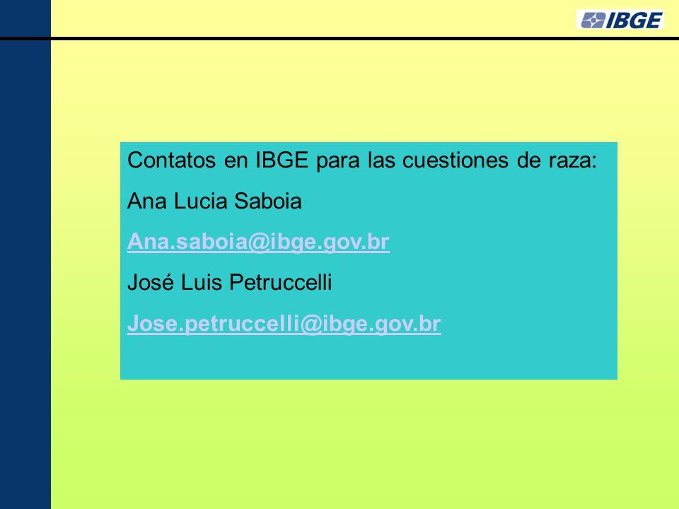 Contatos en IBGE para las cuestiones de raza: Ana Lucia Saboia Ana.saboia@ibge.gov.br José Luis Petruccelli Jose.petruccelli@ibge.gov.br