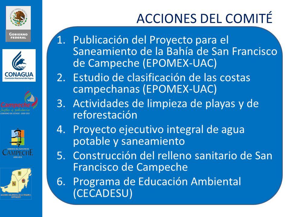 ACCIONES DEL COMITÉ 1.Publicación del Proyecto para el Saneamiento de la Bahía de San Francisco de Campeche (EPOMEX-UAC) 2.Estudio de clasificación de