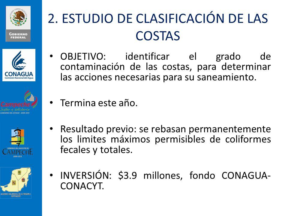 2. ESTUDIO DE CLASIFICACIÓN DE LAS COSTAS OBJETIVO: identificar el grado de contaminación de las costas, para determinar las acciones necesarias para