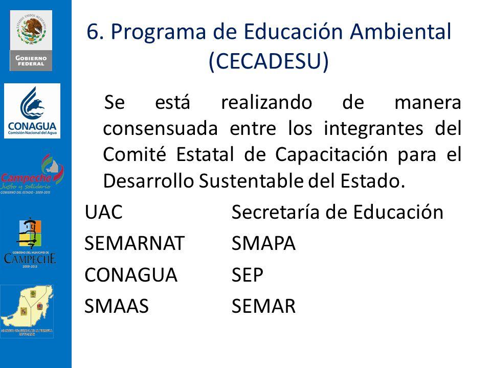 6. Programa de Educación Ambiental (CECADESU) Se está realizando de manera consensuada entre los integrantes del Comité Estatal de Capacitación para e