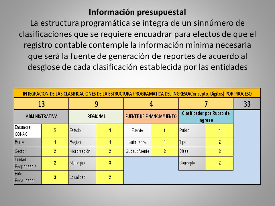 Información presupuestal La estructura programática se integra de un sinnúmero de clasificaciones que se requiere encuadrar para efectos de que el reg