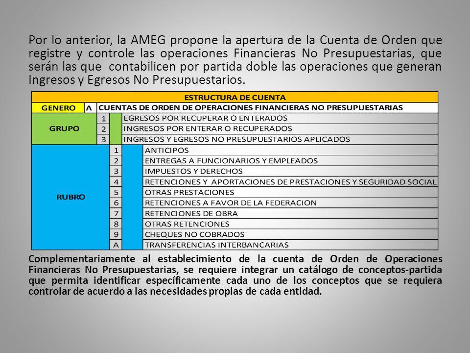Por lo anterior, la AMEG propone la apertura de la Cuenta de Orden que registre y controle las operaciones Financieras No Presupuestarias, que serán l