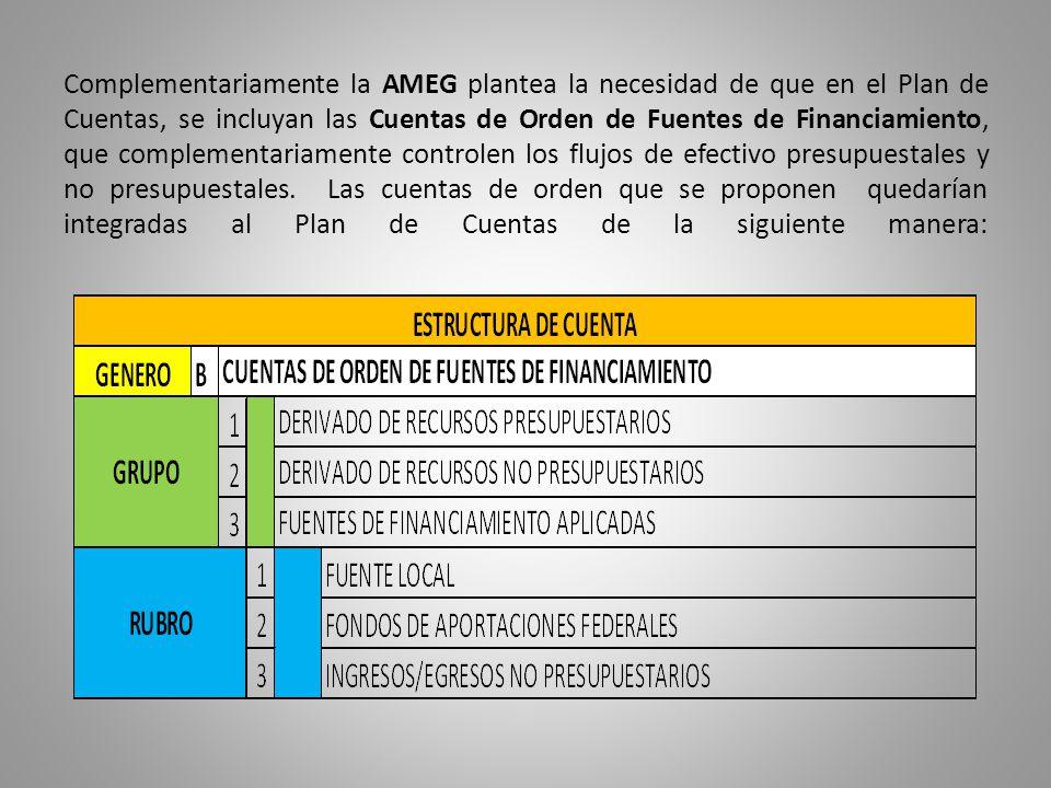 Complementariamente la AMEG plantea la necesidad de que en el Plan de Cuentas, se incluyan las Cuentas de Orden de Fuentes de Financiamiento, que comp