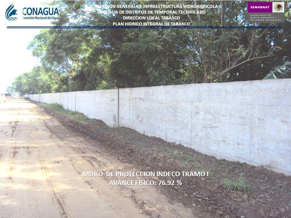 MURO DE PROTECCION INDECO TRAMO I AVANCE FISICO:76.92 % AVANCE FISICO: 76.92 % SUBDIRECCION GENERAL DE INFRAESTRUCTURA HIDROAGRICOLA GERENCIA DE DISTRITOS DE TEMPORAL TECNIFICADO DIRECCION LOCAL TABASCO PLAN HIDRICO INTEGRAL DE TABASCO