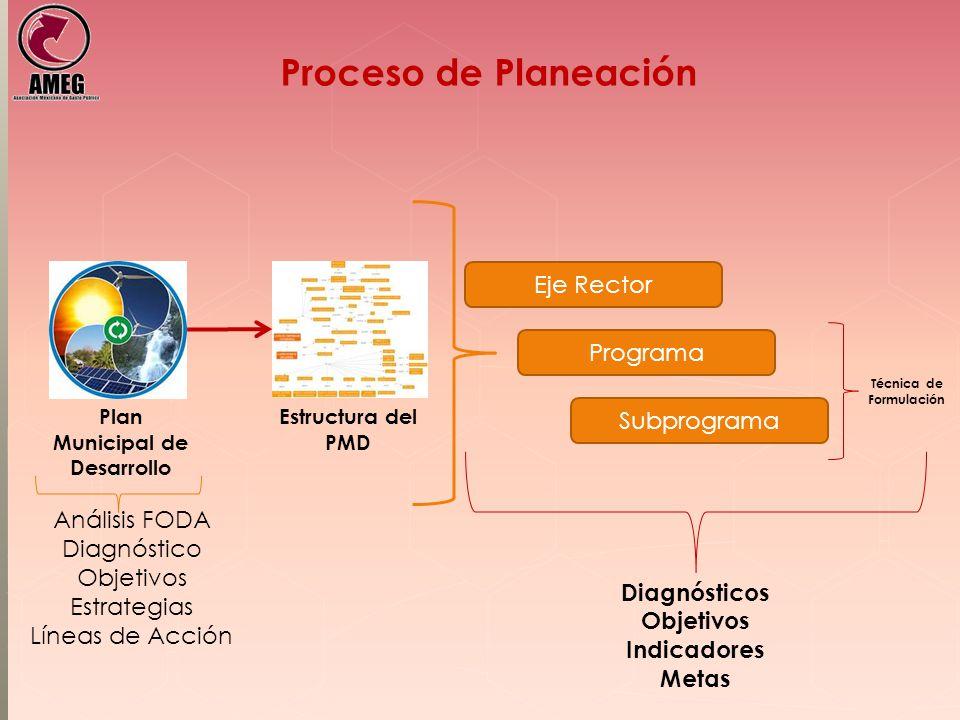 Proceso de Planeación Plan Municipal de Desarrollo Estructura del PMD Eje Rector Programa Subprograma Diagnósticos Objetivos Indicadores Metas Técnica de Formulación Análisis FODA Diagnóstico Objetivos Estrategias Líneas de Acción