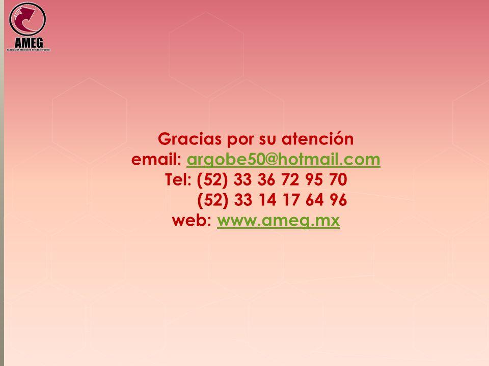 Gracias por su atención email: argobe50@hotmail.com Tel: (52) 33 36 72 95 70 (52) 33 14 17 64 96 web: www.ameg.mxargobe50@hotmail.comwww.ameg.mx
