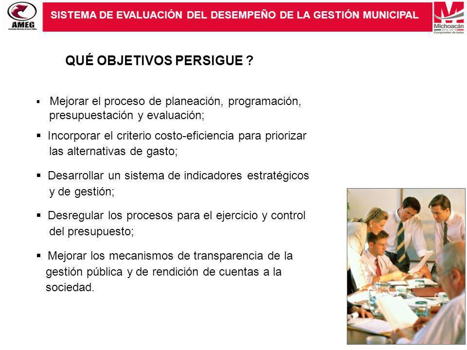 SISTEMA DE EVALUACIÓN DEL DESEMPEÑO DE LA GESTIÓN MUNICIPAL QUÉ OBJETIVOS PERSIGUE ? Mejorar el proceso de planeación, programación, presupuestación y
