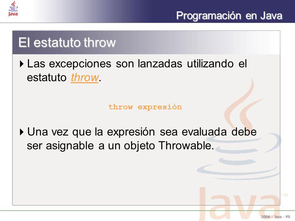 Programación en Java El estatuto throw Las excepciones son lanzadas utilizando el estatuto throw. throw expresión Una vez que la expresión sea evaluad