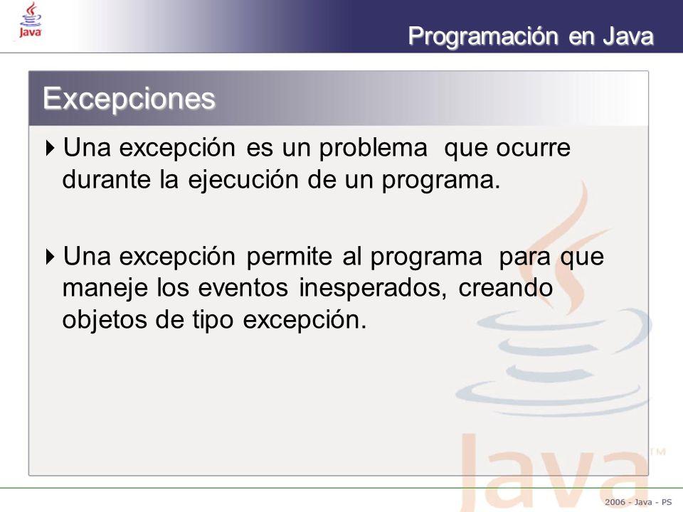 Programación en Java Excepciones Una excepción es un problema que ocurre durante la ejecución de un programa. Una excepción permite al programa para q