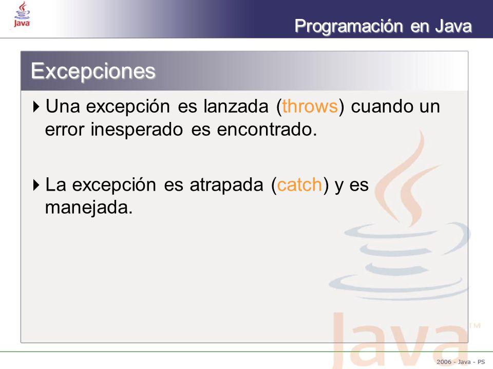 Programación en Java Excepciones Una excepción es lanzada (throws) cuando un error inesperado es encontrado. La excepción es atrapada (catch) y es man
