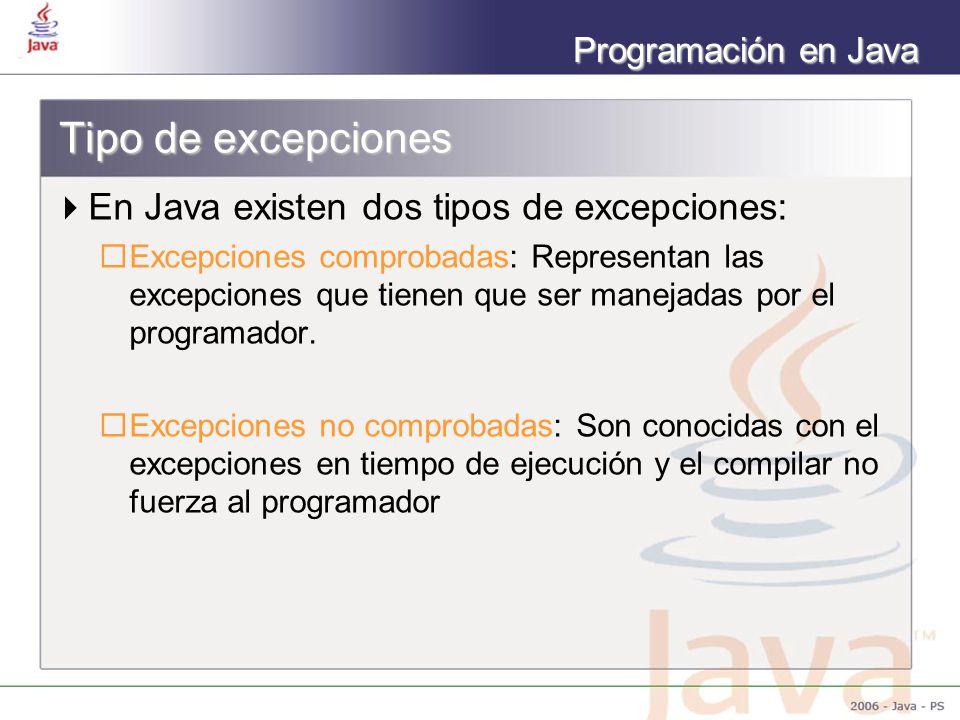 Programación en Java Tipo de excepciones En Java existen dos tipos de excepciones: Excepciones comprobadas: Representan las excepciones que tienen que ser manejadas por el programador.