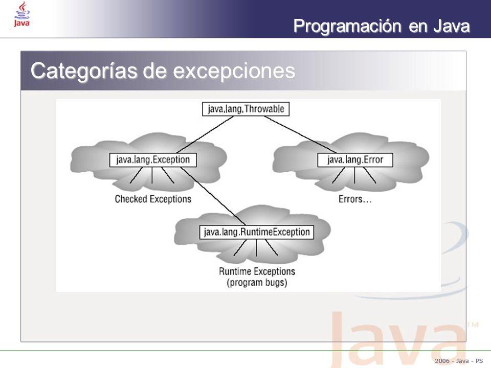 Programación en Java Categorías de excepciones
