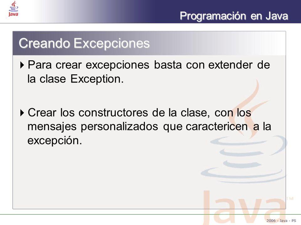 Programación en Java Creando Excepciones Para crear excepciones basta con extender de la clase Exception. Crear los constructores de la clase, con los