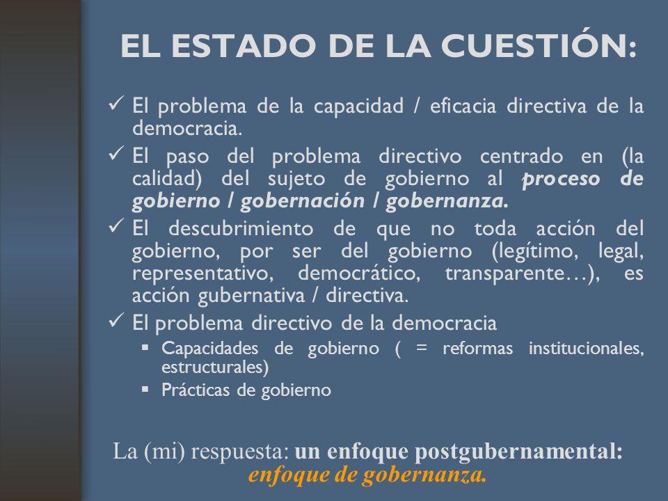 EL ESTADO DE LA CUESTIÓN: El problema de la capacidad / eficacia directiva de la democracia. El paso del problema directivo centrado en (la calidad) d