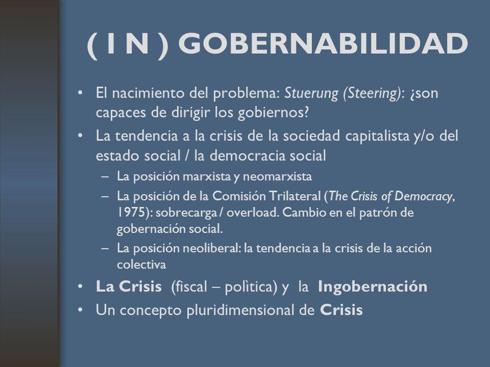 ( I N ) GOBERNABILIDAD El nacimiento del problema: Stuerung (Steering): ¿son capaces de dirigir los gobiernos? La tendencia a la crisis de la sociedad