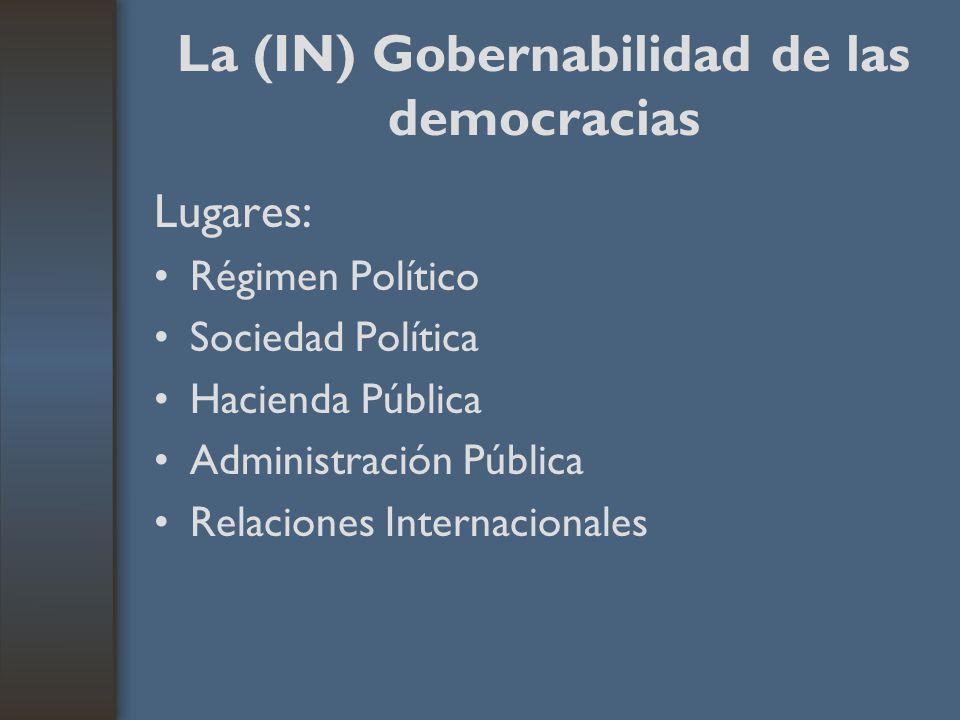 La (IN) Gobernabilidad de las democracias Lugares: Régimen Político Sociedad Política Hacienda Pública Administración Pública Relaciones Internacionales