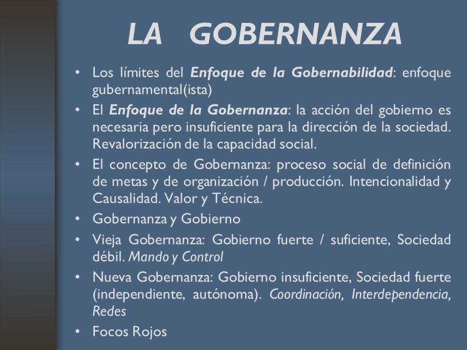 LA GOBERNANZA Los límites del Enfoque de la Gobernabilidad: enfoque gubernamental(ista) El Enfoque de la Gobernanza: la acción del gobierno es necesar