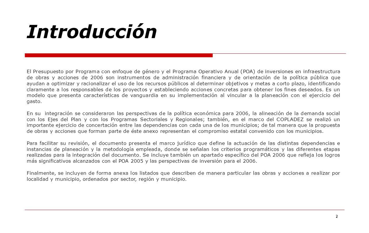 2 El Presupuesto por Programa con enfoque de género y el Programa Operativo Anual (POA) de inversiones en infraestructura de obras y acciones de 2006