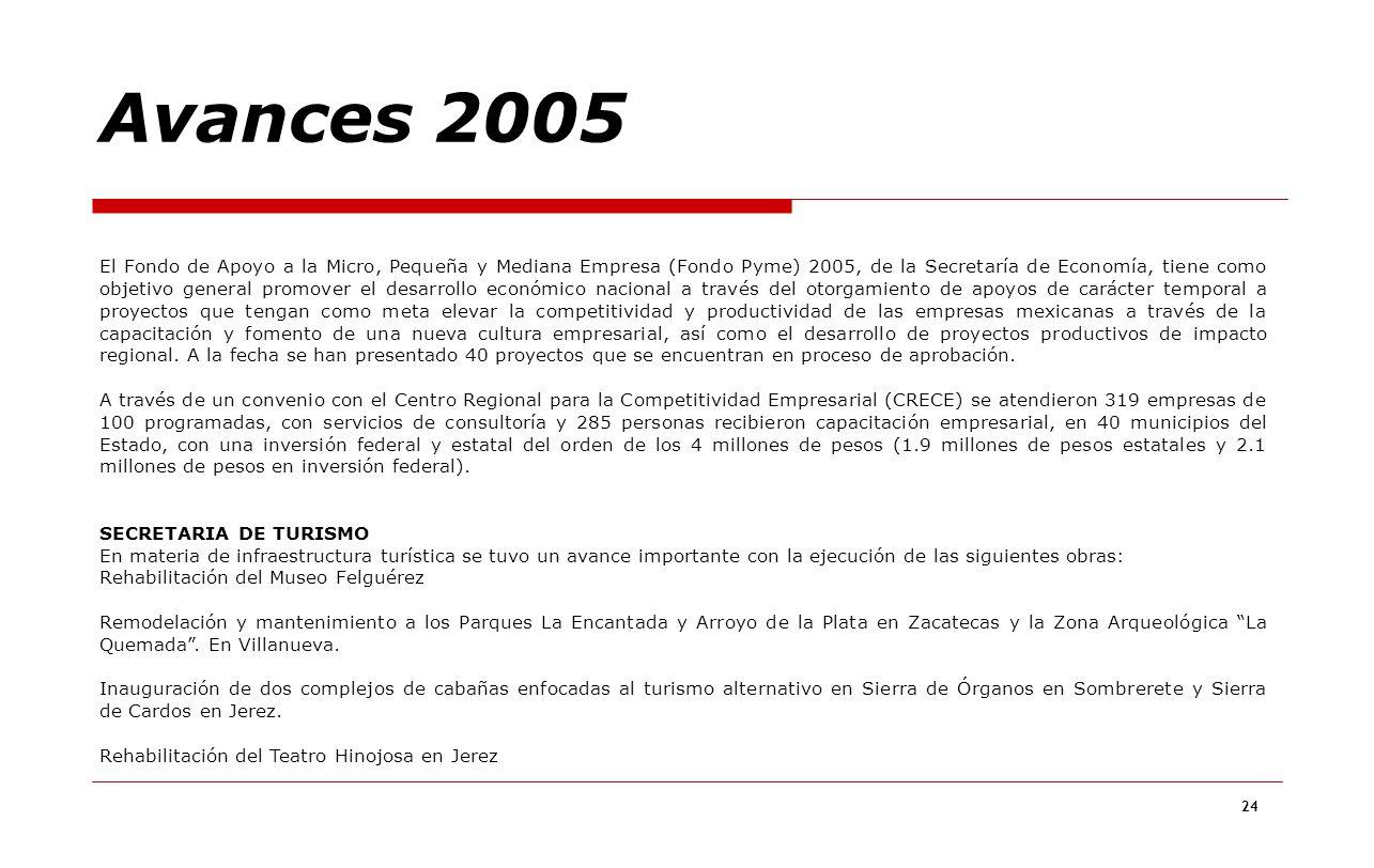 24 El Fondo de Apoyo a la Micro, Pequeña y Mediana Empresa (Fondo Pyme) 2005, de la Secretaría de Economía, tiene como objetivo general promover el de