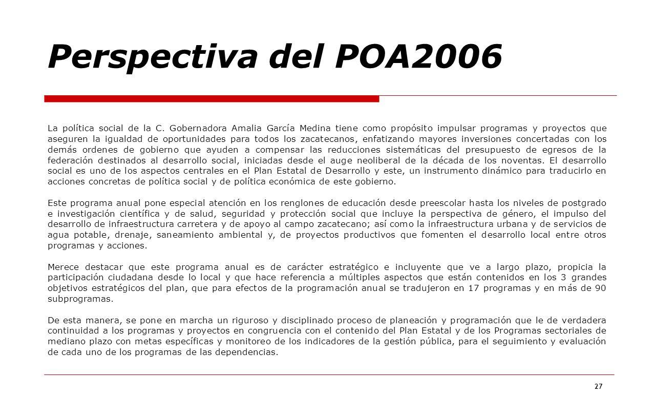 27 Perspectiva del POA2006 La política social de la C. Gobernadora Amalia García Medina tiene como propósito impulsar programas y proyectos que asegur
