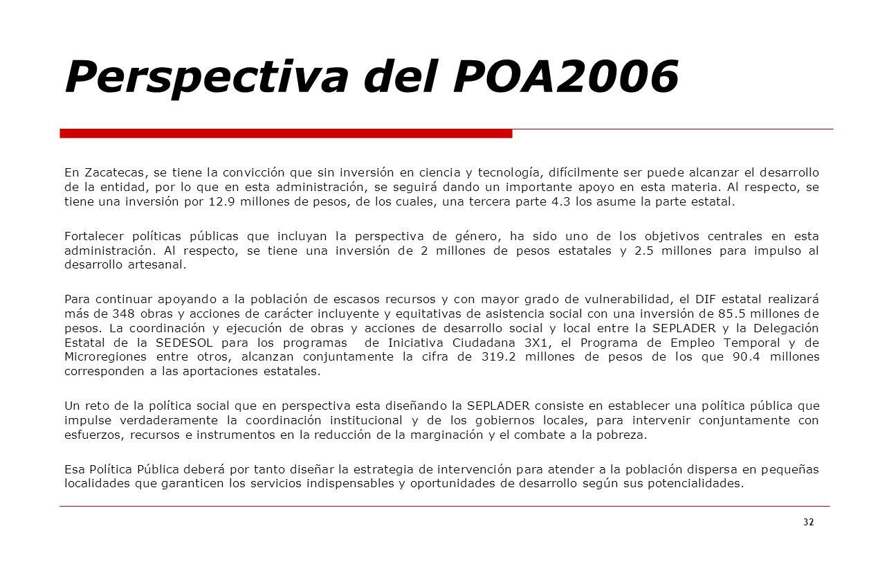 32 En Zacatecas, se tiene la convicción que sin inversión en ciencia y tecnología, difícilmente ser puede alcanzar el desarrollo de la entidad, por lo