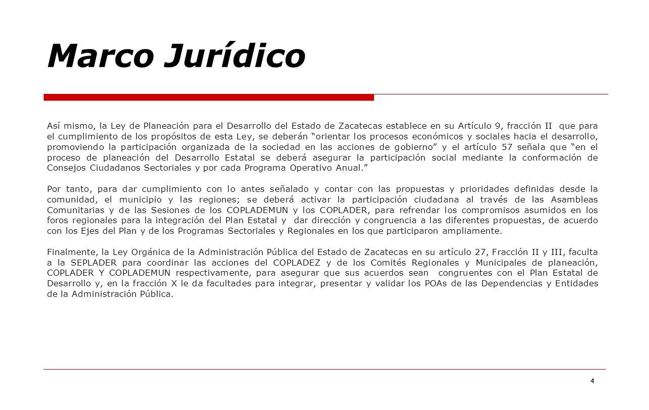 4 Así mismo, la Ley de Planeación para el Desarrollo del Estado de Zacatecas establece en su Artículo 9, fracción II que para el cumplimiento de los p
