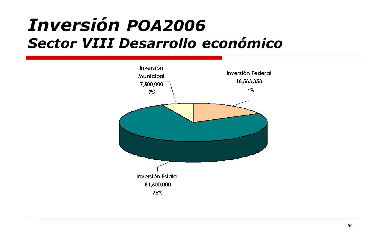 50 Inversión POA2006 Sector VIII Desarrollo económico