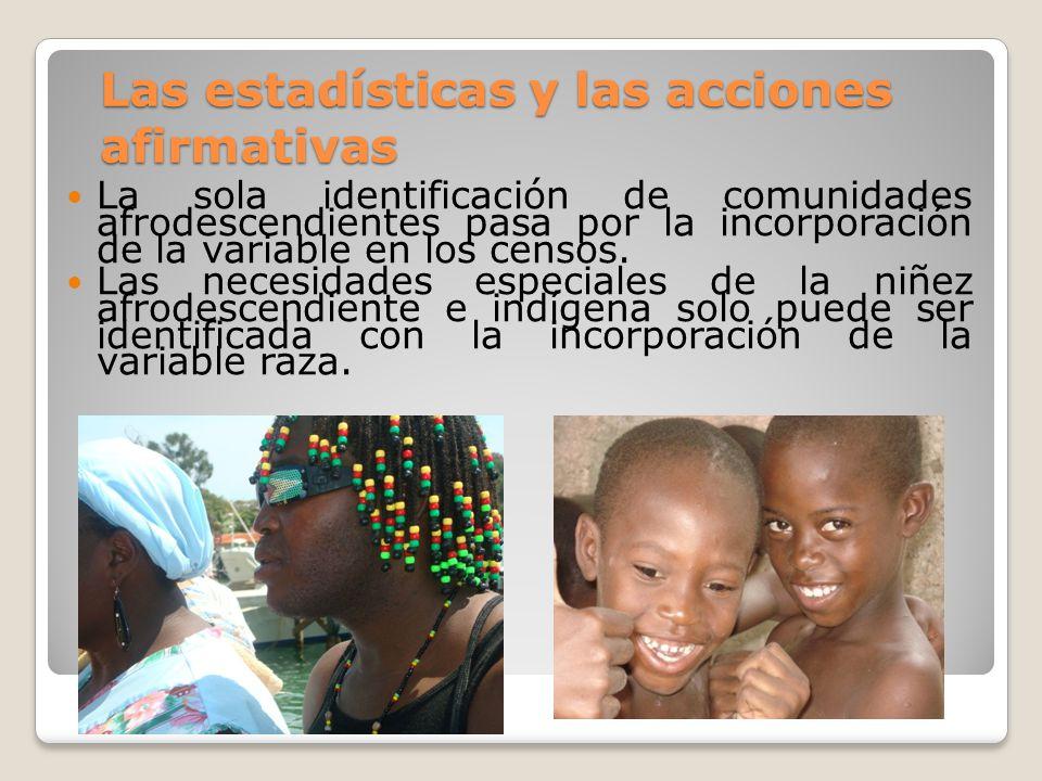 Las estadísticas y las acciones afirmativas La sola identificación de comunidades afrodescendientes pasa por la incorporación de la variable en los ce